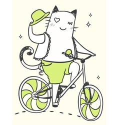 Cartoon cat on a bicycle with a hat vector
