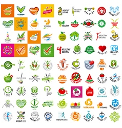 Large set of logo of a healthy lifestyle vector