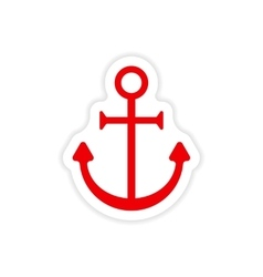 Icon sticker realistic design on paper anchor vector