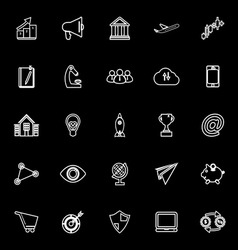 Startup business line icons on black background vector