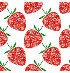 Pattern with ornamental strawberries on the white vector