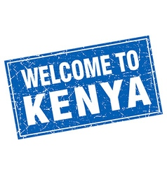 Kenya blue square grunge welcome to stamp vector