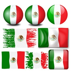 Mexico flag in many design vector