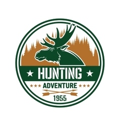 Round badge with elk for hunting club design vector