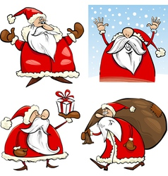 Cartoon christmas santa clauses set vector