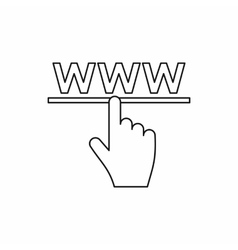 Hand cursor icon in outline style vector