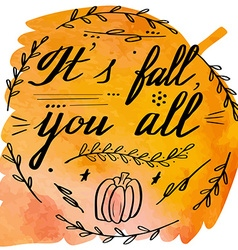 Autumn watercolor banner with hand lettering vector