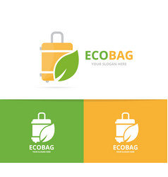 bag and leaf logo combination baggage vector image vector image