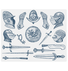 Big set medieval symbols helmet and gloves vector