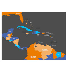 Central america and carribean states political map vector