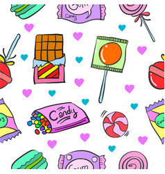 Collection stock of candy cute design doodles vector