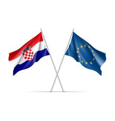 Croatia and european union waving flags vector