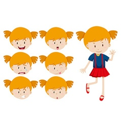 Cute girl with facial expressions vector image vector image