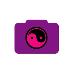 Digital camera- photography logo with ying yang vector