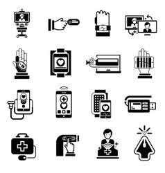 Digital medicine icons black vector