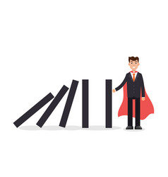 Domino effect businessman holding the domino vector