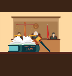 employment law books with a judges gavel vector image