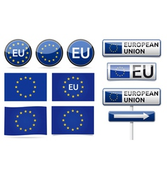 European eu flag collection vector