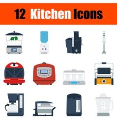 Flat design kitchen icon set vector