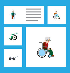 Flat icon disabled set of handicapped man vector