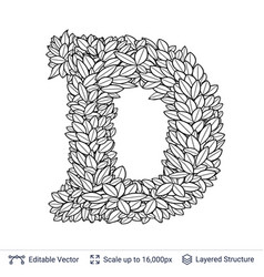 letter d symbol of white leaves vector image