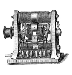 Machine program vintage engraving vector image