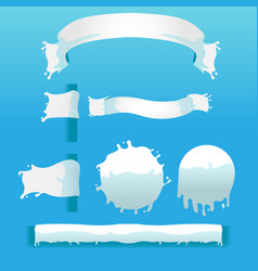 Milk white splash banner border vector