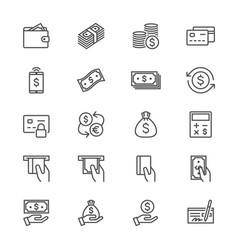 money thin icons vector image