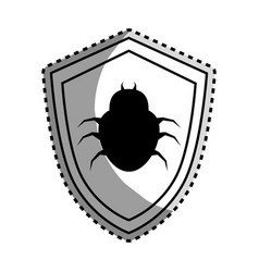 Monochrome contour sticker of shield with beetle vector