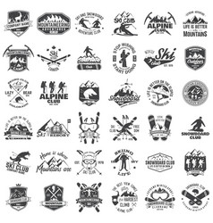 mountain expedition ski and snowboard club emblem vector image vector image