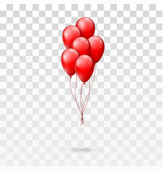 red glossy balloons bunch isolated on transparent vector image vector image