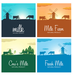 Set of milk banners milk natural product rural vector