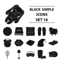 Sleep and rest set icons in black style big vector