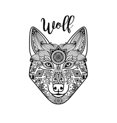 Zentangle wolf head with guata vector
