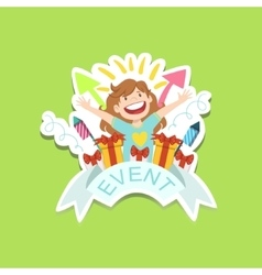 Event template label cute sticker with little girl vector