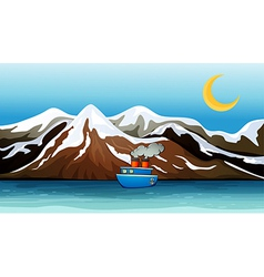 A blue ship near the mountain vector image