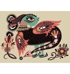 ethnic fantastic animal doodle design in karakoko vector image