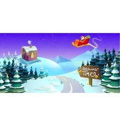 Santa claus sleigh fly over the forest  christmas vector