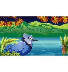 Cartoon riverside bird vector