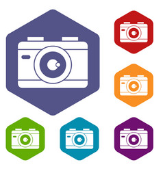 Photo camera icons set vector