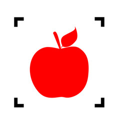 apple sign red icon inside vector image