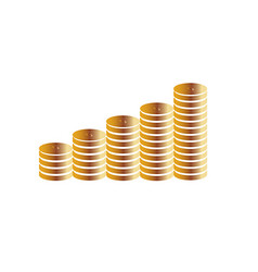 Columns of gold coins on a white background vector