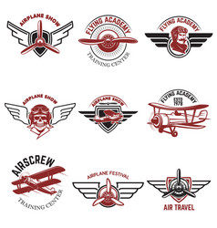 Set of air force airplane show flying academy vector
