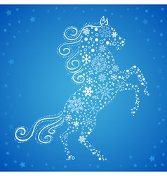 New year card of horse made of snowflakes vector