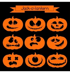 Jack-o-lantern set of 9 decorative elements vector