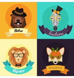 Set of fashion hipster animals vector