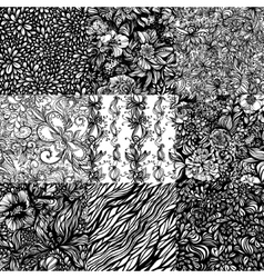 The set monochromatic abstract zentangle seamless vector image