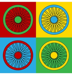 Pop art bicycle wheel icons vector