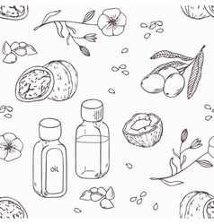 Healing oils outline seamless pattern healthy vector