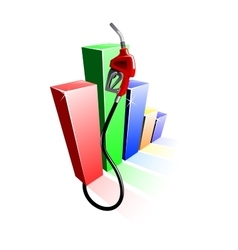 Bar graph of fuel prices with gas pump nozzle vector